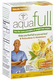 appetite control drink mix zesty lemon tea Aquafull Nutrition info