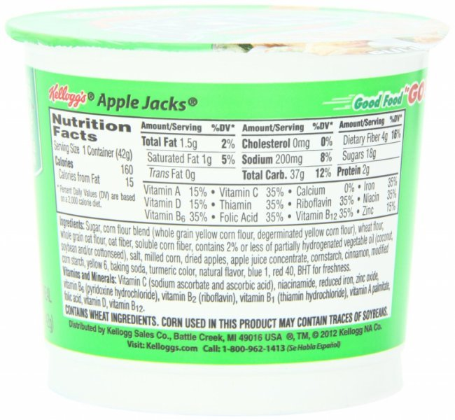 Apple jacks cereal. Nutrition Facts
