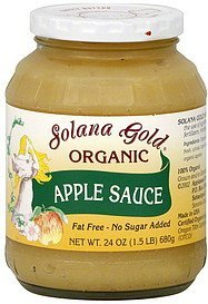 apple sauce organic Solana Gold Nutrition info