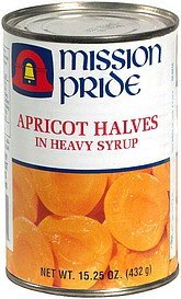 apricot halves in heavy syrup Mission Pride Nutrition info