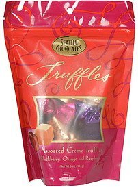 assorted creme truffles blackberry, orange and raspberry Seattle Chocolates Nutrition info