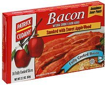 bacon fully cooked, smoked with sweet apple wood Patrick Cudahy Nutrition info