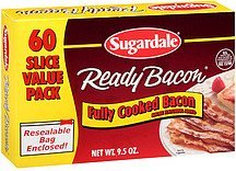 bacon ready fully cooked Sugardale Nutrition info