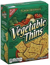 baked snack crackers Vegetable Thins Nutrition info