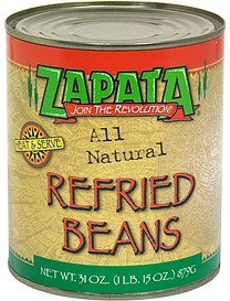 beans refried Zapata Nutrition info