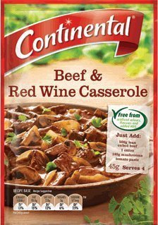 beef and red wine casserole Continental Nutrition info