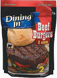 beef burgers Dining In Nutrition info