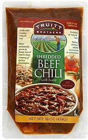 beef chili shredded, with beans Truitt Brothers Nutrition info