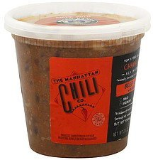 beef chili with beans, chain gang, hot hot The Manhattan Chili Co. Nutrition info