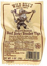 beef jerky tender tips hickory smoked Wild Bills Nutrition info