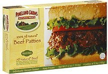 beef patties 100% all natural Pineland Farms Nutrition info