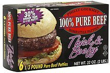 beef patties 100% pure homestyle Philly-Gourmet Nutrition info