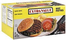 beef patties Extra Value Meats Nutrition info