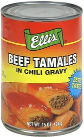 beef tamales in chili gravy Ellis Nutrition info