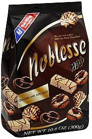 biscuits and wafers with fine dark chocolate Noblesse Nutrition info
