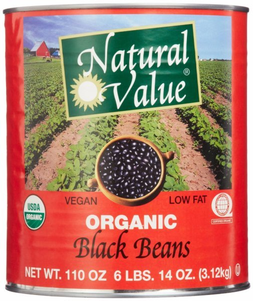 black beans 100% organic Natural Value Nutrition info