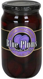blue plums in light syrup Red Hills Fruit Company Nutrition info