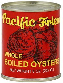 boiled oysters whole Pacific Friend Nutrition info