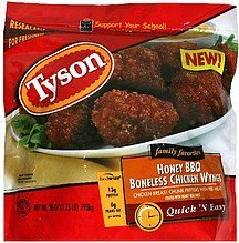 boneless chicken wings honey bbq Tyson Nutrition info