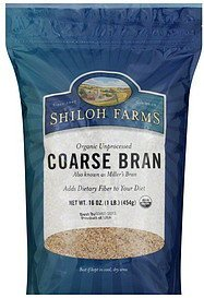 bran unprocessed coarse, organic Shiloh Farms Nutrition info