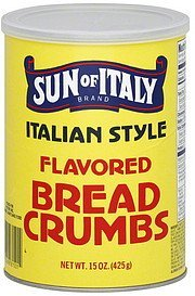 bread crumbs flavored, italian style Sun of Italy Nutrition info