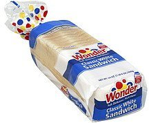 bread sandwich, classic white Wonder Nutrition info