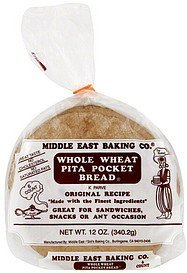 bread whole wheat pita pocket Middle East Baking Co. Nutrition info