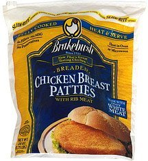 breaded chicken breast patties with rib meat Brakebush Nutrition info
