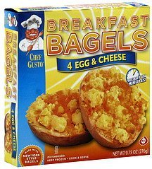breakfast bagels egg & cheese Chef Gusto Nutrition info