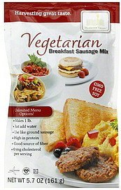 breakfast sausage mix vegetarian Harmony Valley Nutrition info