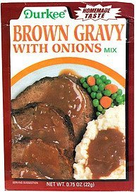 brown gravy with onions mix Durkee Nutrition info
