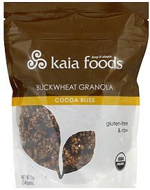 buckwheat granola cocoa bliss Kaia Foods Nutrition info