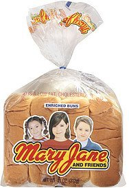 buns enriched hot dog Mary Jane Nutrition info