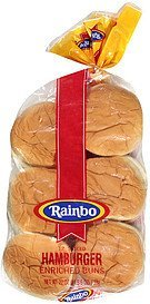 buns sliced hamburger enriched Rainbo Nutrition info