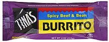 burrito spicy beef & bean Tinas Nutrition info