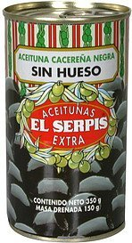 cacerena black pitted olives Serpis Nutrition info