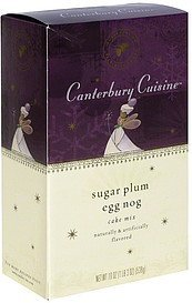 cake mix sugar plum egg nog Canterbury Cuisine Nutrition info
