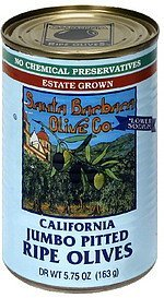 california jumbo pitted ripe olives Santa Barbara Olive Co. Nutrition info