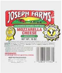 california natural part skim mozzarella cheese Joseph Farms Nutrition info
