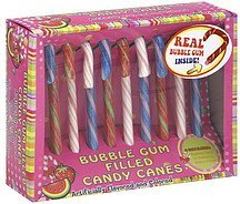 candy canes bubble gum filled, assorted flavors Fourstar Group Nutrition info