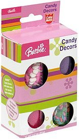 candy decors pink and white hearts and pastel flowers, lavender and pink sugars Barbie Nutrition info