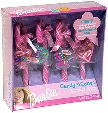 candy 'n canes barbie, cherry candy canes with fruit flavored jellies Frankford Candy & Chocolate Company Nutrition info