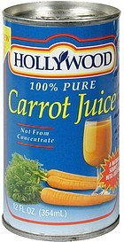 carrot juice !00% pure Hollywood Nutrition info