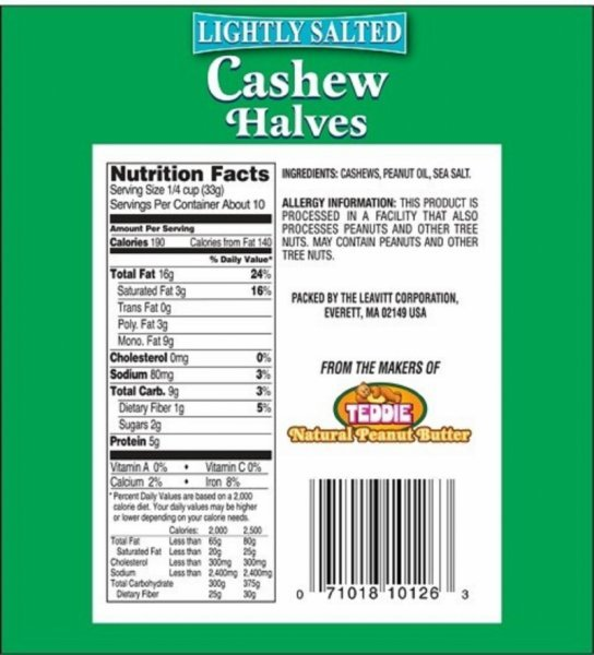 cashew halves lightly salted River Queen Nutrition info