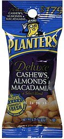 cashews, almonds, macadamias deluxe Planters Nutrition info