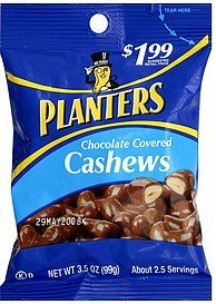 cashews chocolate covered Planters Nutrition info