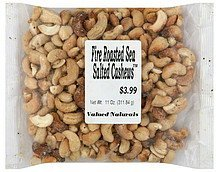 cashews fire roasted sea salted Valued Naturals Nutrition info