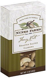 cashews roasted salted Nunes Farms Nutrition info