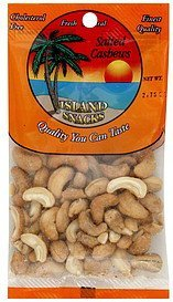cashews salted Island Snacks Nutrition info