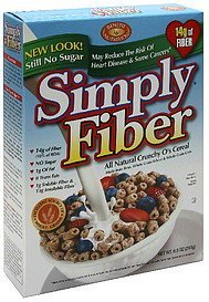 cereal all natural crunchy o's Simply Fiber Nutrition info